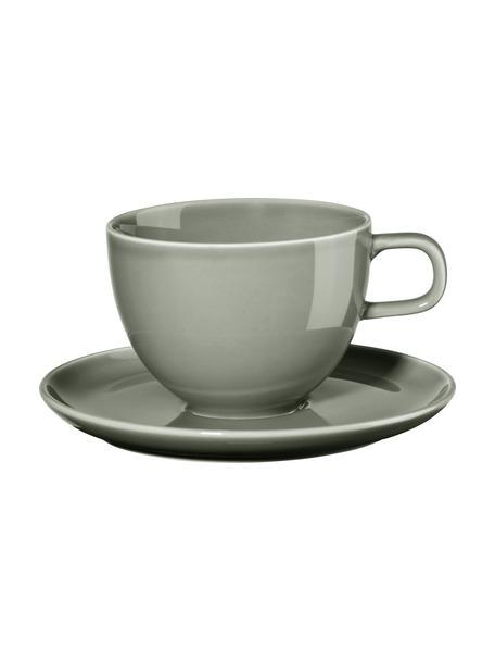 Porzellan-Kaffeetassen Kolibri mit Untertasse in Grau glänzend, 6 Stück, Porzellan, grau, Ø 9 x H 9 cm