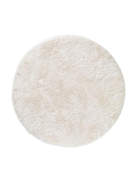Glanzend hoogpolig vloerkleed Lea in wit, rond, Bovenzijde: 50% polyester, 50% polypr, Onderzijde: 100% jute, Wit, Ø 120 cm (maat S)