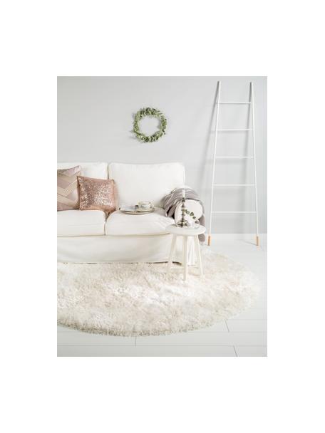Okrągły dywan z wysokim stosem i połyskiem Lea, Biały, Ø 120 cm (Rozmiar S)