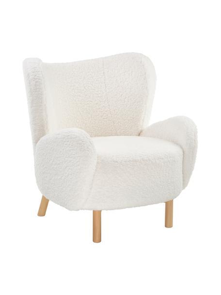 Fotel uszak Teddy Kalia, Tapicerka: teddy (100% poliester) Dz, Nogi: drewno bukowe, Stelaż: metal, Kremowobiały, S 78 x G 80 cm