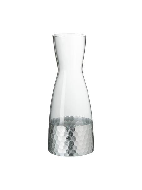 Glaskaraffe Wasp mit gehämmertem Edelstahl, 1.15 L, Glas, Transparent, Silber-Grau, H 26 cm