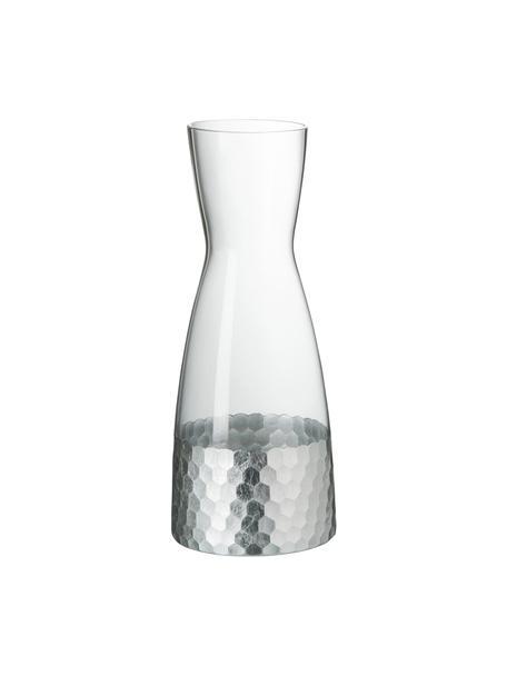 Glazen karaf Wasp met gehamerd edelstaal, 1,15 L, Glas, Transparant, zilvergrijskleurig, H 26 cm
