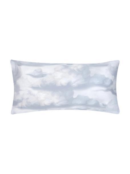 Poszewka na poduszkę z satyny bawełnianej Cloudy, 2 elem., Jasny niebieski, biały, S 40 x D 80 cm