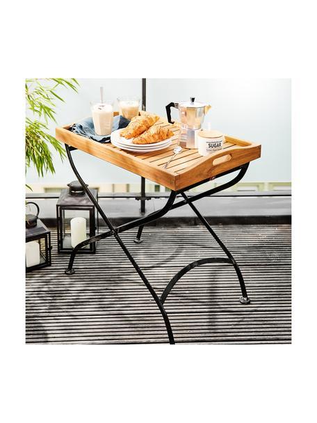 Garten-Tablettisch Parklife mit Holzplatte, Tischplatte: Akazienholz, geölt, Gestell: Metall, verzinkt, pulverb, Schwarz, Akazienholz, 65 x 72 cm