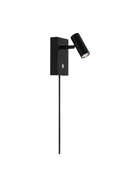 Lampada da parete a LED con presa Omari, Paralume: metallo rivestito, Nero, Larg. 7 x Alt. 12 cm
