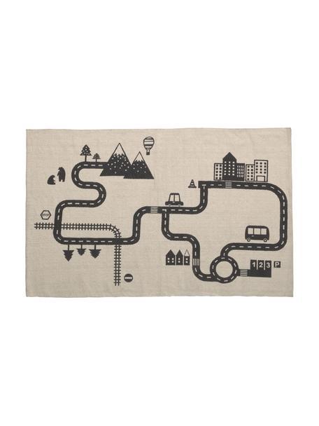Teppich Nisi aus Bio-Baumwolle, 100% Bio-Baumwolle, GOTS-zertifiziert, Beige, Schwarz, B 75 cm x L 120 cm (Größe XS)