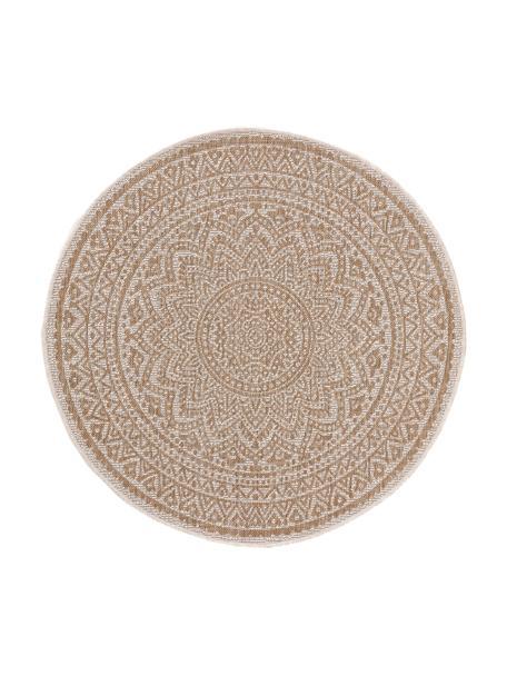 Alfombra redonda de interior/exterior Cleo, 90%polipropileno, 10%poliéster, Beige, crema, Ø 120 cm (Tamaño S)