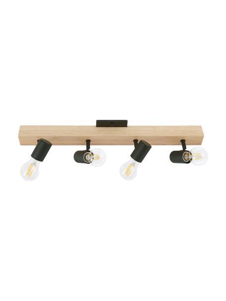 Lampa sufitowa z drewna Townshend, Czarny, drewno naturalne, S 63 x W 13 cm