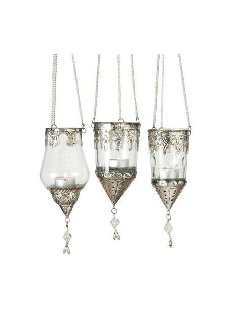 Windlichter-Set Cosa, 3-tlg., Windlicht: Glas, Dekor: Metall, Transparent, Silberfarben, Ø 9 x H 23 cm