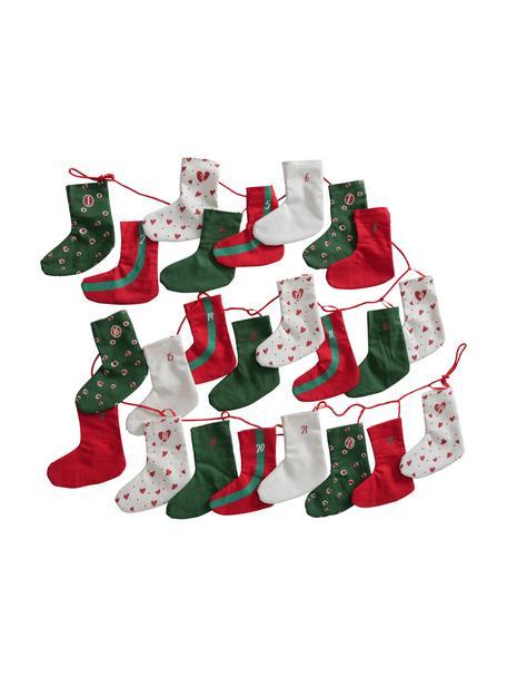 Adventskalender Socky L  280 cm, Filz, Grün, Rot, Weiß, L 280 cm