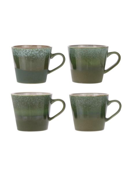 Tazza cappuccino fatta a mano stile retrò 70's 4 pz, Gres, Tonalità verdi, Ø 10 x Alt. 12 cm