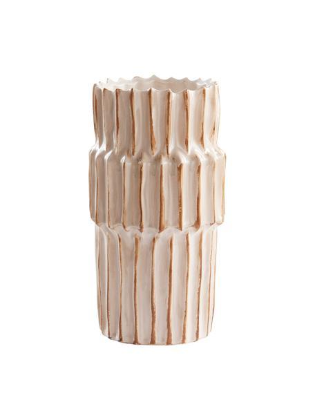 Grote keramische vaas Pilar met groeven structuur, Keramiek, Beige, Ø 20 x H 36 cm
