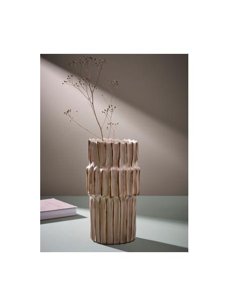 Vaso in ceramica di design con struttura scanalata Pilar, Ceramica, Beige, Ø 20 x Alt. 36 cm