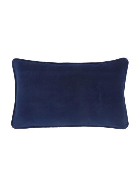 Poszewka na poduszkę z aksamitu Dana, 100% aksamit bawełniany, Marynarski granat, S 30 x D 50 cm