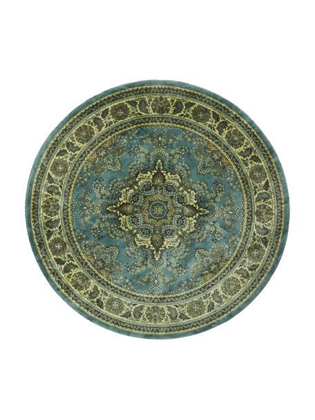 Rond vintage vloerkleed Bodega in groen met franjes, Bovenzijde: 38%Rayon, 26%katoen, 26, Onderzijde: latex, Groentinten, Ø 175 cm (maat L)