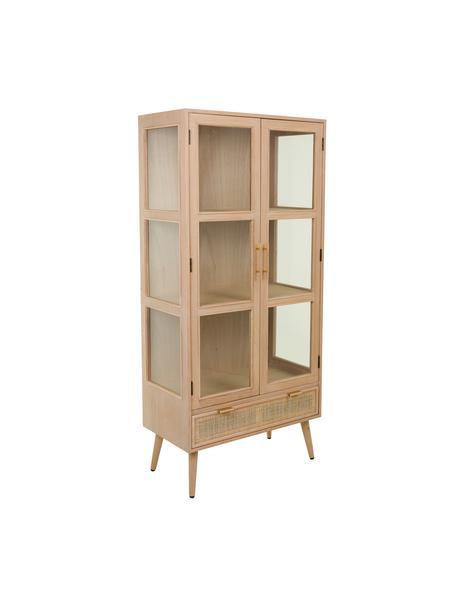 Sinfonier de madera y vidrio Cayetana, Estructura: tablero de fibras de dens, Patas: madera de bambú pintada, Marrón, An 72 x Al 159 cm