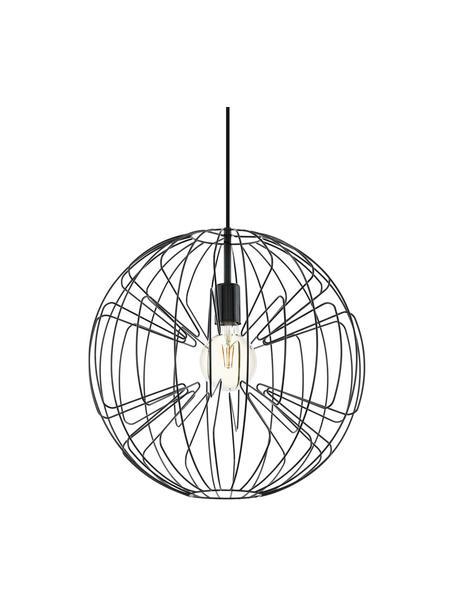 Lámpara de techo Okinzuri, Pantalla: metal brillante, Casquillo: metal brillante, Anclaje: metal pintado, Cable: cubierto en tela, Negro, Ø 45  cm