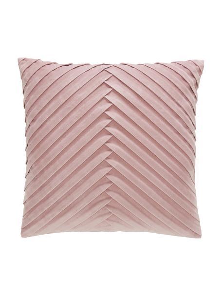 Federa arredo strutturata in velluto rosa Lucie, 100% velluto (poliestere) Si prega di tenere presente che il velluto apparirà di colore più chiaro o più scuro a seconda dell'incidenza della luce e del verso del tessuto, Rosa cipria, Larg. 45 x Lung. 45 cm