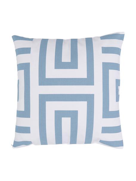 Federa arredo con motivo grafico azzurro/bianco Bram, 100% cotone, Bianco, azzurro, Larg. 45 x Lung. 45 cm