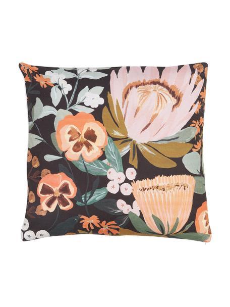Federa arredo Big Flowers, 100% cotone, certificato GOTS, Multicolore, Larg. 45 x Lung. 45 cm
