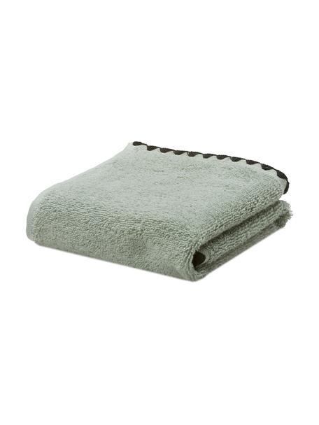 Handtuch Issey in verschiedenen Größen, mit bestickter Borte, Graugrün, Schwarz, Gästehandtuch