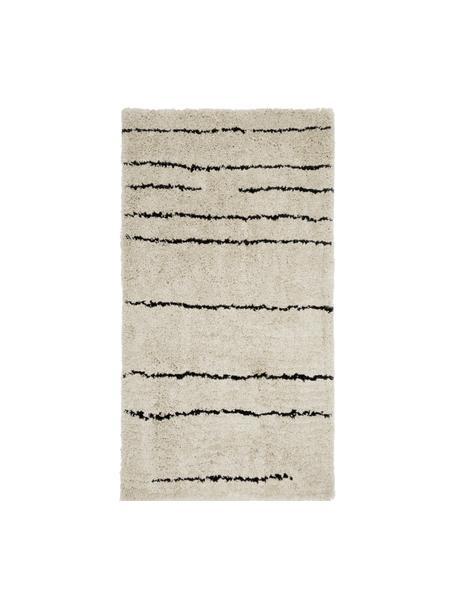 Handgetuft vloerkleed Dunya, Bovenzijde: 100% polyester, Onderzijde: 100% katoen, Beige, zwart, 80 x 150 cm