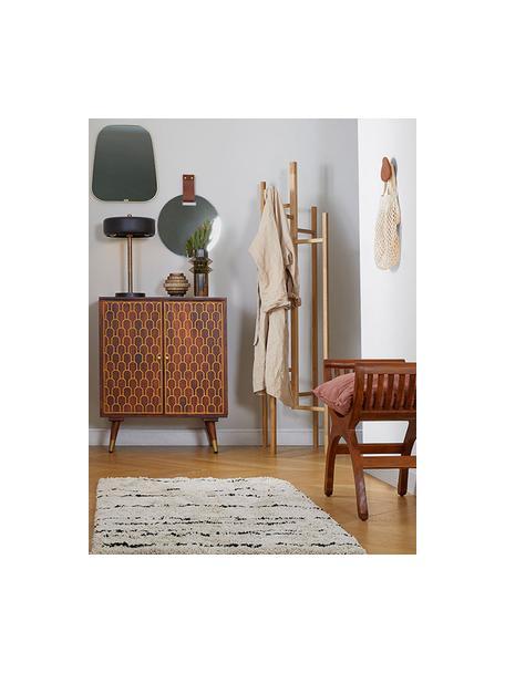 Zacht hoogpolig vloerkleed Dunya, handgetuft, Bovenzijde: 100% polyester, Onderzijde: 100% katoen, Beige, zwart, B 80 x L 150 cm (maat XS)