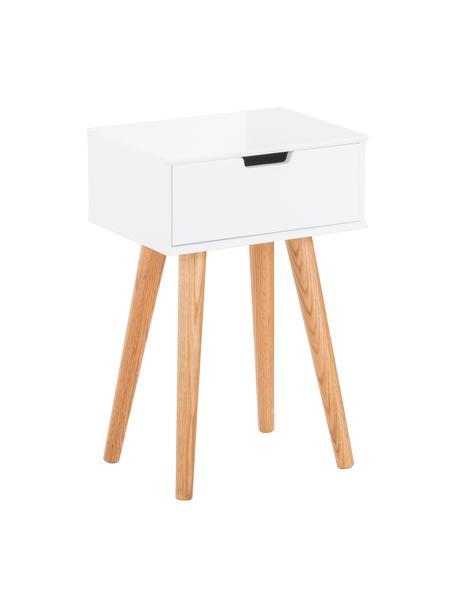 Szafka nocna z szufladą Mitra, Nogi: drewno dębowe, Biały, 40 x 62 cm