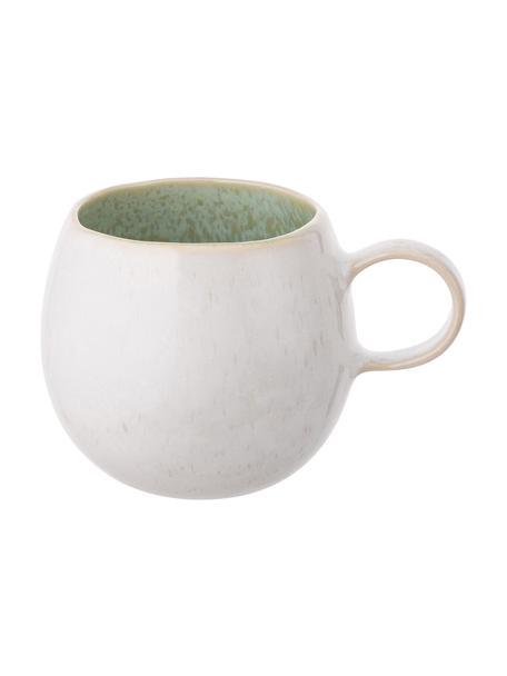 Tazas originales de té artesanales Areia, 2uds., Gres, Menta, blanco crudo, beige, Ø 9 x Al 10 cm