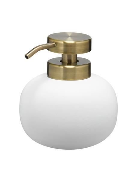 Keramik-Seifenspender Lotus, Behälter: Keramik, Pumpkopf: Metall, beschichtet, Weiss, Messingfarben, Ø 11 x H 13 cm