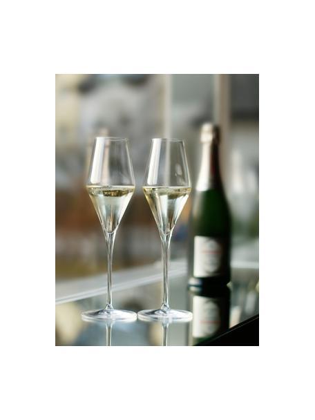 Kristallen champagneglazen Quatrophil, 6 stuks, Kristalglas, Transparant, Ø 8 x H 26 cm