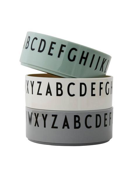 Set 3 ciotoline con lettere Meal, Tritan, Verde menta, bianco, grigio, Ø 11 x Alt. 4 cm