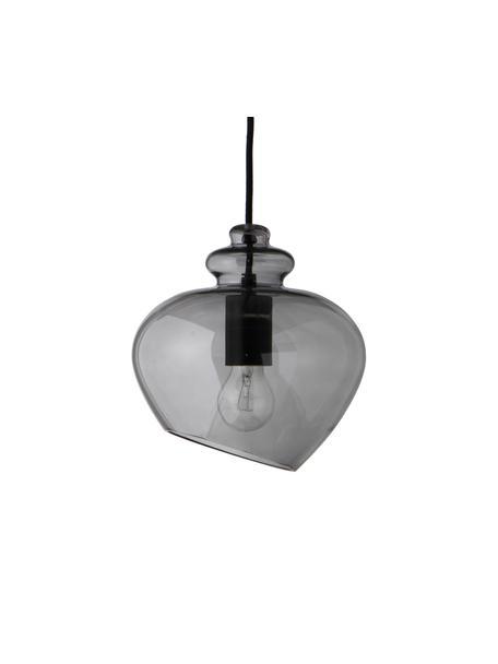 Lámpara de techo de vidrio de diseño Grace, Pantalla: vidrio, Cable: cubierto en tela, Gris, Ø 21 x Al 26 cm