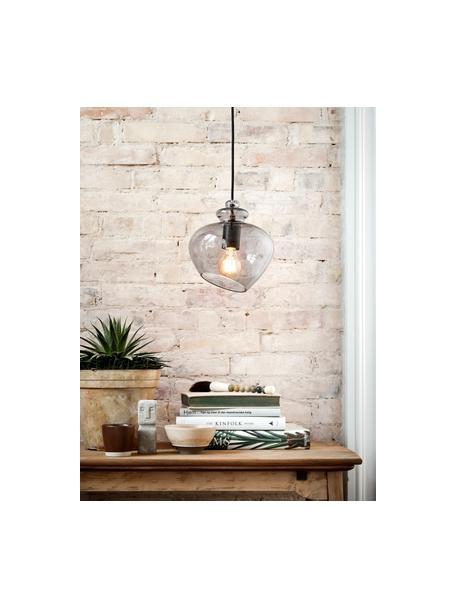 Kleine Design Pendelleuchte Grace aus Glas, Lampenschirm: Glas, Grau, Ø 21 x H 26 cm