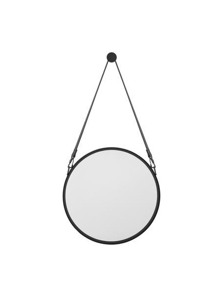 Ronde wandspiegel Liz met zwart leren ophangband, Zwart, Ø 40 cm