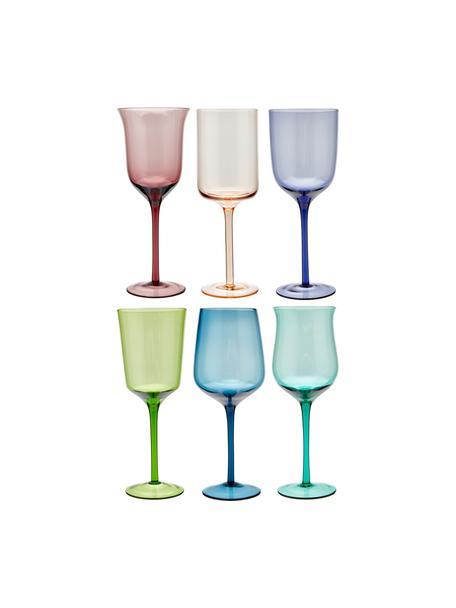 Mondgeblazen wijnglazen Diseguale in verschillende kleuren en vormen, 6 stuks, Glas, Multicolour, Ø 7 x H 24 cm