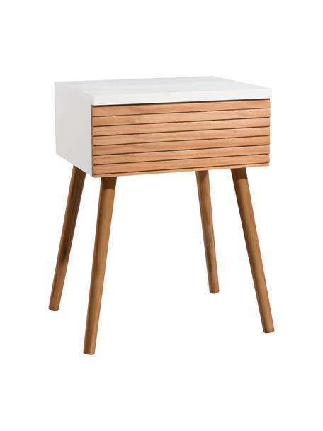 Szafka nocna w stylu scandi Pedro, Korpus: płyta pilśniowa średniej , Biały, drewno sosnowe, S 40 x W 56 cm