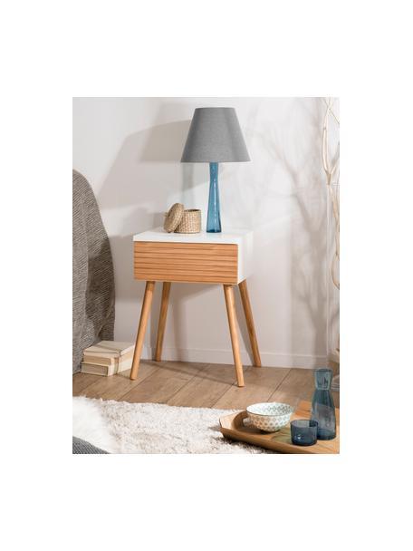 Scandi nachtkastje Pedro met lade, Frame: gelakt MDF, Wit, grenenhoutkleurig, 40 x 56 cm