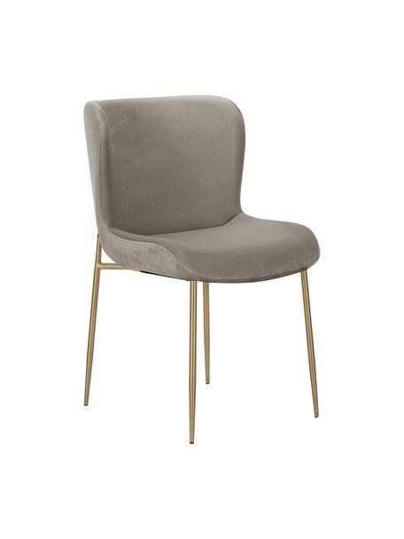 Krzesło tapicerowane z aksamitu Tess, Tapicerka: aksamit (poliester) Dzięk, Nogi: metal malowany proszkowo, Aksamitny taupe, złoty, S 49 x W 84 cm