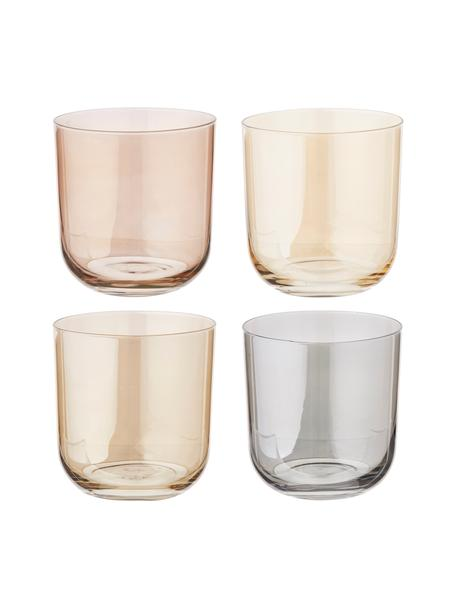 Handbeschilderde waterglazen Polka, 4 stuks, Glas, Geel, kastanjebruin, grijs, bruin, Ø 9 x H 9 cm
