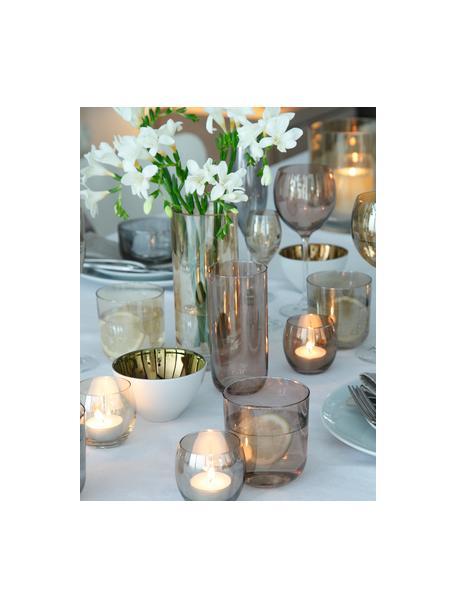 Handbeschilderde waterglazen Polka in bruin- en grijstinten, 4-delig, Glas, Geel, kastanjebruin, grijs, bruin, Ø 9 x H 9 cm