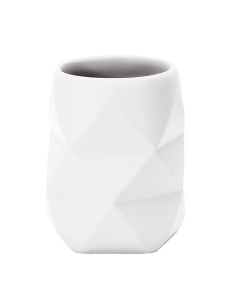 Tandenborstelbeker Crackle van breukvast polyresin, Polyresin, Wit, Ø 8 x H 10 cm