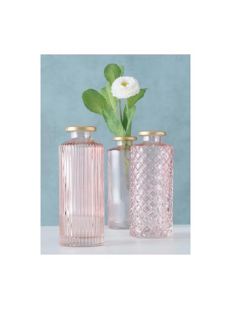 Komplet małych wazonów ze szkła Adore, 3 elem., Szkło barwione, Blady różowy, Ø 5 x W 13 cm