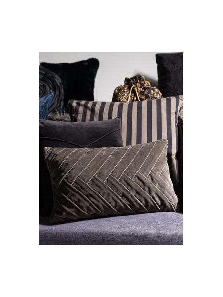 Aksamitna poduszka z wypełnieniem Folded, Tapicerka: 100% aksamit bawełniany, Szary, S 30 x D 50 cm