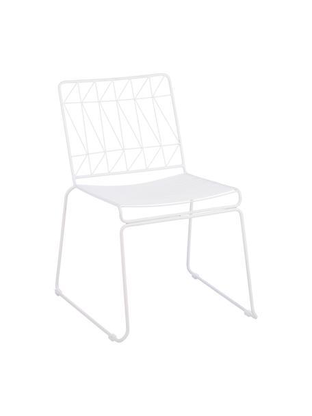Weißer Balkonstuhl Bueno, Metall, beschichtet, Weiß, 55 x 77 cm