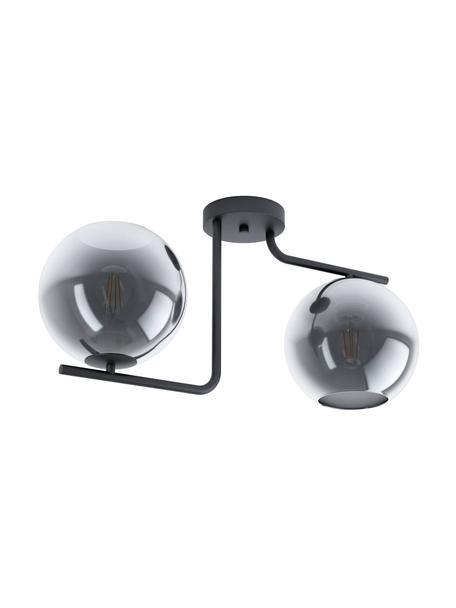 Design plafondlamp Marojales van glas, Baldakijn: gecoat staal, Zwart, grijs, transparant, 56 x 28 cm