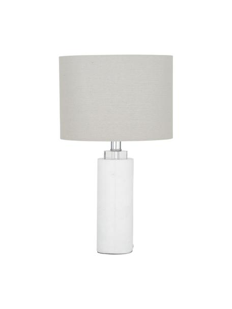 Klassieke tafellamp Amanda met marmeren voet, Lampenkap: textiel, Lampvoet: marmer, kristalglas, Wit, Ø 28 x H 48 cm