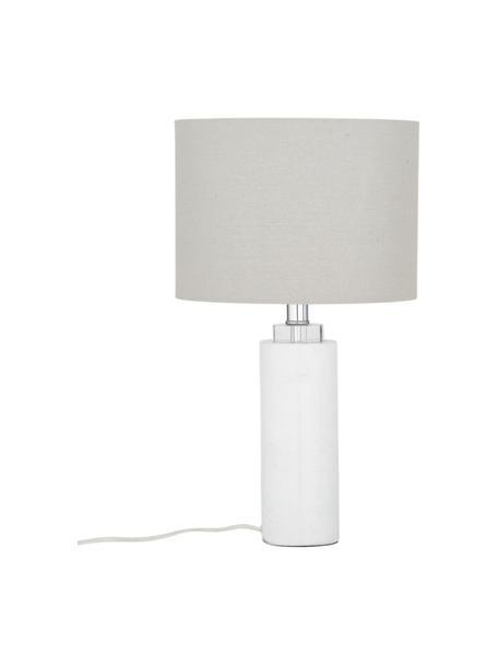 Klassische Tischlampe Amanda mit Marmorfuß, Lampenschirm: Textil, Lampenfuß: Marmor, Kristallglas, Weiß, Ø 28 x H 48 cm