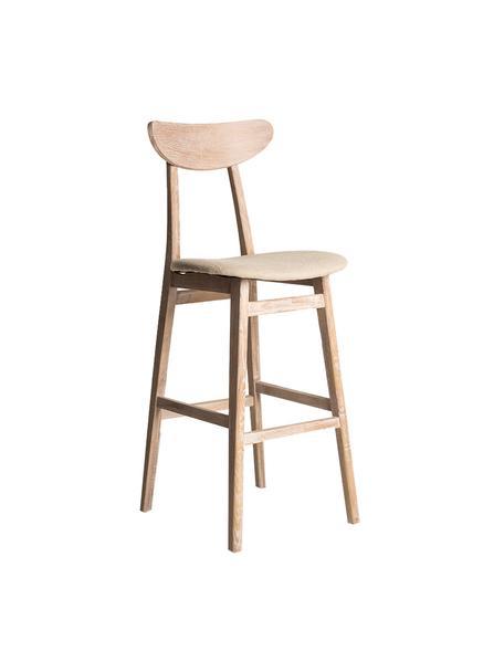 Sedia da bar beige Arov, Struttura: legno di olmo, Rivestimento: iuta, Beige, Larg. 49 x Alt. 114 cm