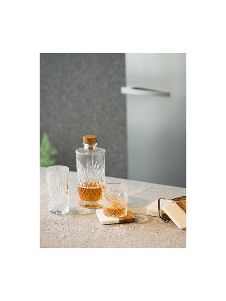 Glaskaraffe Eugene mit Kristallrelief, 900 ml, Deckel: Holz, Transparent, Holz, H 24 cm